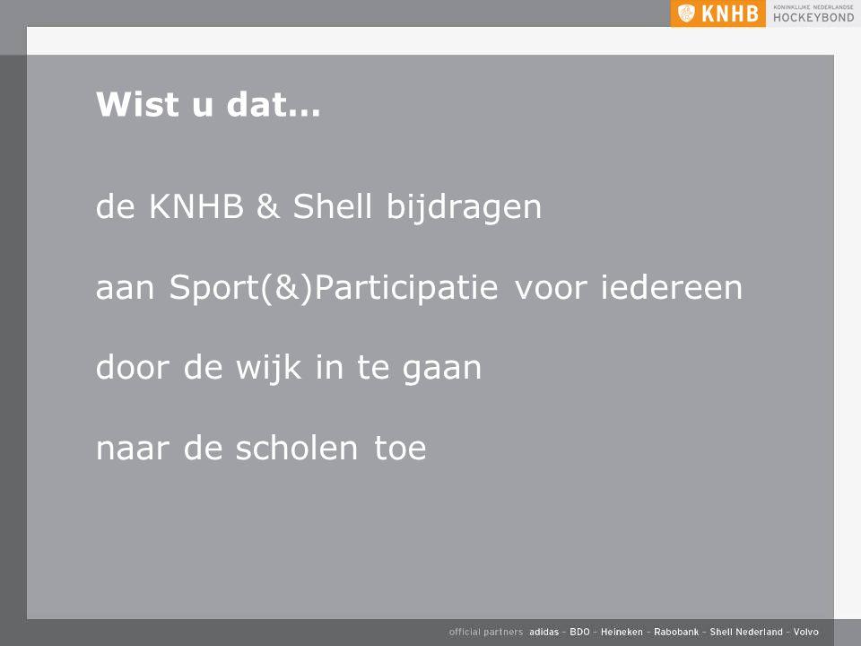 Wist u dat… de KNHB & Shell bijdragen aan Sport(&)Participatie voor iedereen door de wijk in te gaan naar de scholen toe