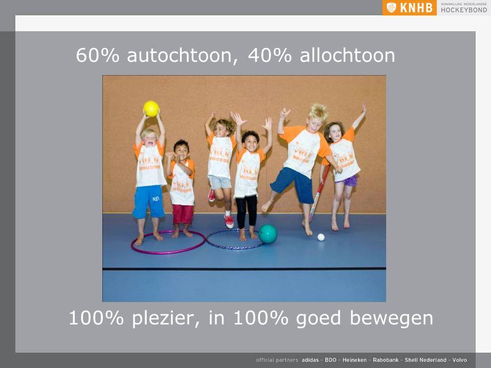 60% autochtoon, 40% allochtoon 100% plezier, in 100% goed bewegen