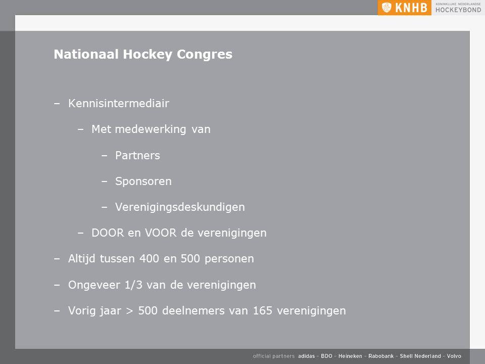 Nationaal Hockey Congres –Kennisintermediair –Met medewerking van –Partners –Sponsoren –Verenigingsdeskundigen –DOOR en VOOR de verenigingen –Altijd tussen 400 en 500 personen –Ongeveer 1/3 van de verenigingen –Vorig jaar > 500 deelnemers van 165 verenigingen