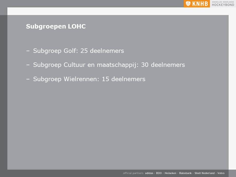 Subgroepen LOHC –Subgroep Golf: 25 deelnemers –Subgroep Cultuur en maatschappij: 30 deelnemers –Subgroep Wielrennen: 15 deelnemers
