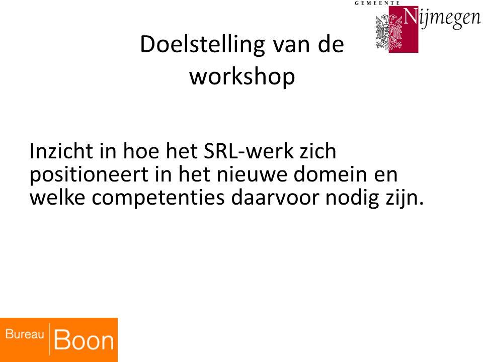 Doelstelling van de workshop Inzicht in hoe het SRL-werk zich positioneert in het nieuwe domein en welke competenties daarvoor nodig zijn.