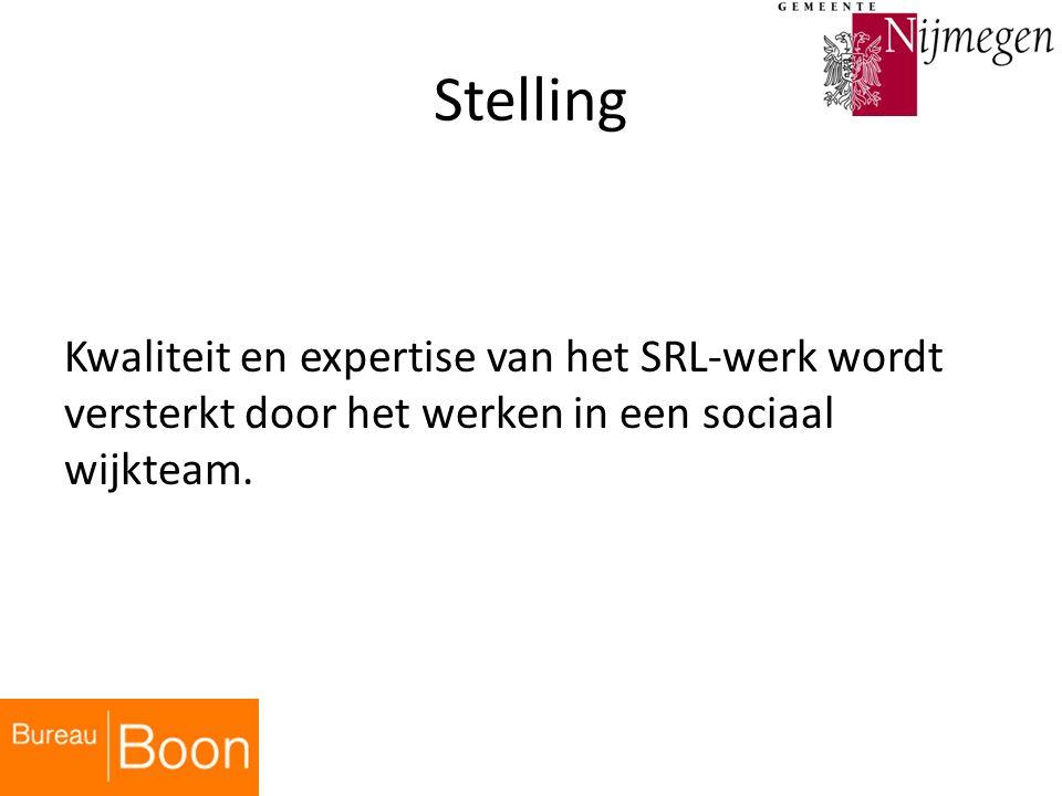 Stelling Kwaliteit en expertise van het SRL-werk wordt versterkt door het werken in een sociaal wijkteam.