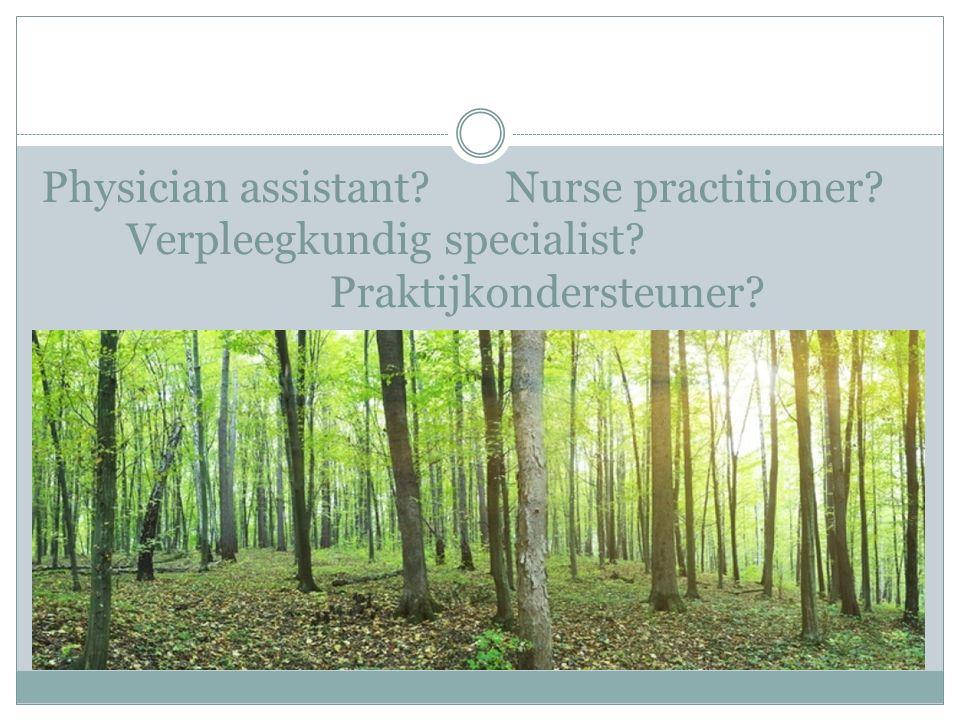 Physician assistant? Nurse practitioner? Verpleegkundig specialist? Praktijkondersteuner?