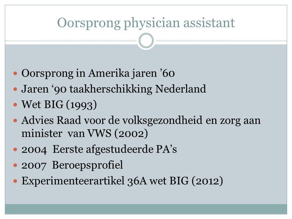 Oorsprong physician assistant Oorsprong in Amerika jaren '60 Jaren '90 taakherschikking Nederland Wet BIG (1993) Advies Raad voor de volksgezondheid e