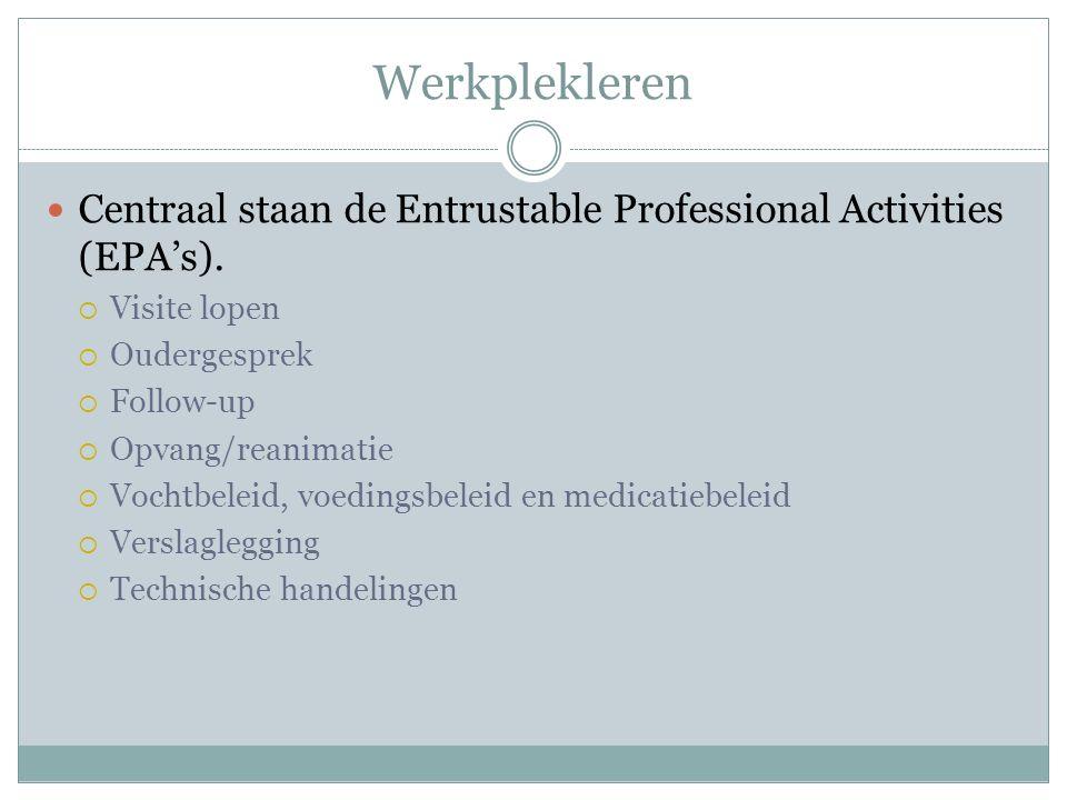 Werkplekleren Centraal staan de Entrustable Professional Activities (EPA's).  Visite lopen  Oudergesprek  Follow-up  Opvang/reanimatie  Vochtbele