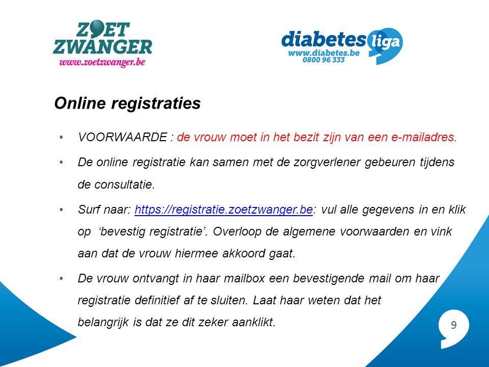 9 Online registraties VOORWAARDE : de vrouw moet in het bezit zijn van een e-mailadres. De online registratie kan samen met de zorgverlener gebeuren t