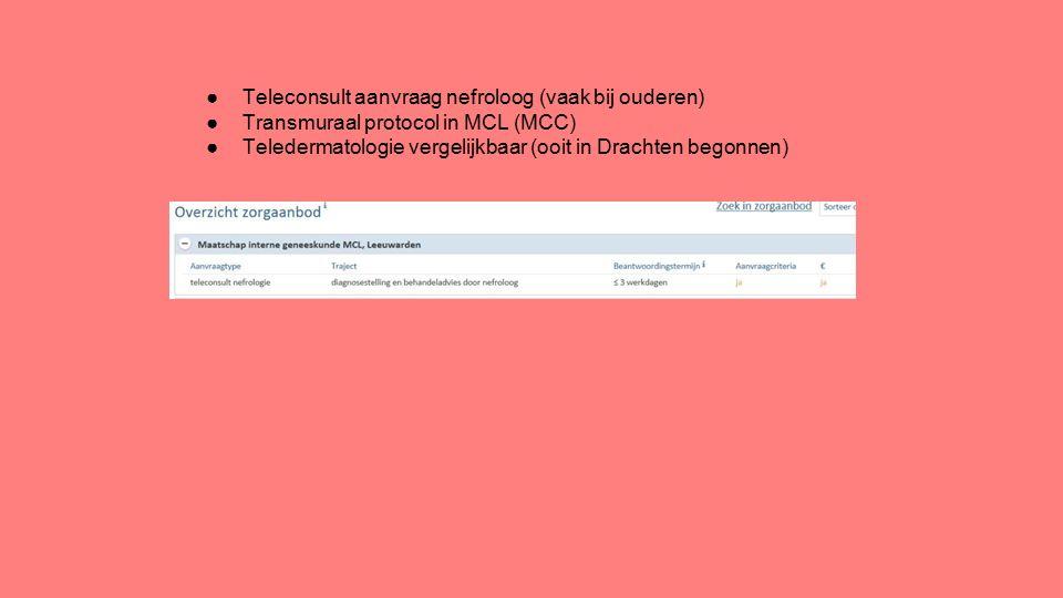 ●Teleconsult aanvraag nefroloog (vaak bij ouderen) ●Transmuraal protocol in MCL (MCC) ●Teledermatologie vergelijkbaar (ooit in Drachten begonnen)