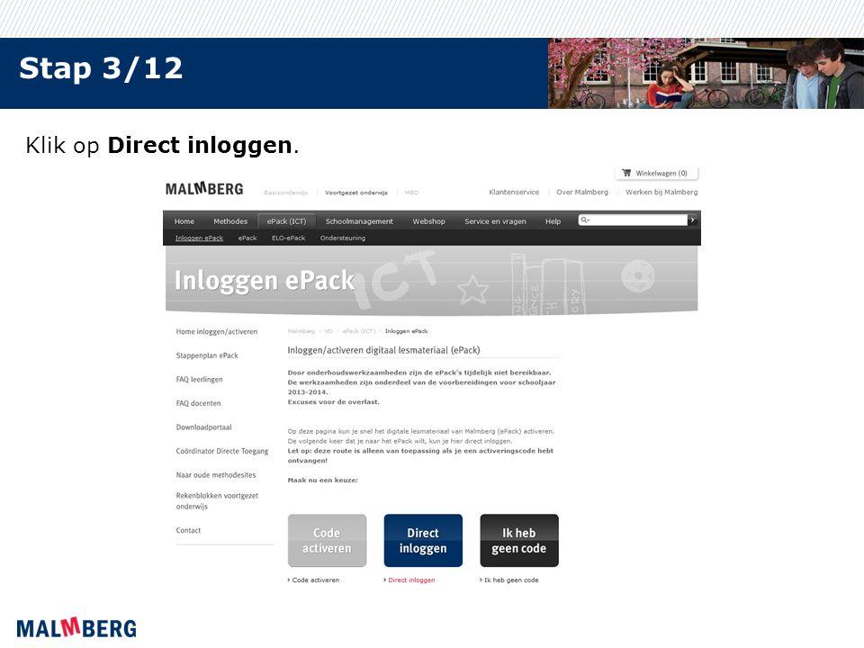 Stap 3/12 Klik op Direct inloggen.