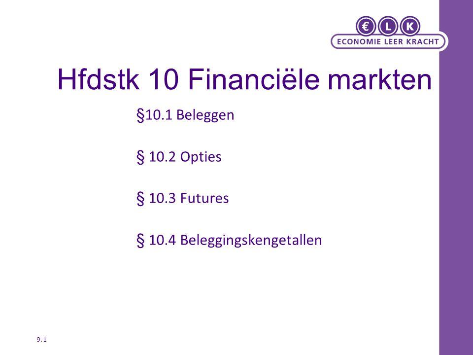 Hfdstk 10 Financiële markten §10.1 Beleggen § 10.2 Opties § 10.3 Futures § 10.4 Beleggingskengetallen 9.1