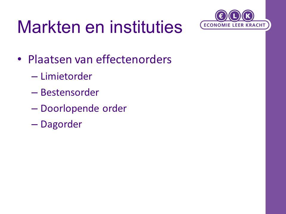 Markten en instituties Plaatsen van effectenorders – Limietorder – Bestensorder – Doorlopende order – Dagorder