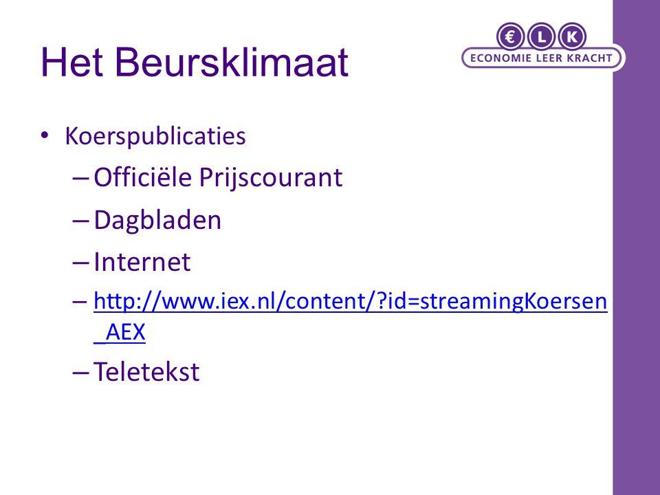 Het Beursklimaat Koerspublicaties – Officiële Prijscourant – Dagbladen – Internet – http://www.iex.nl/content/?id=streamingKoersen _AEX http://www.iex