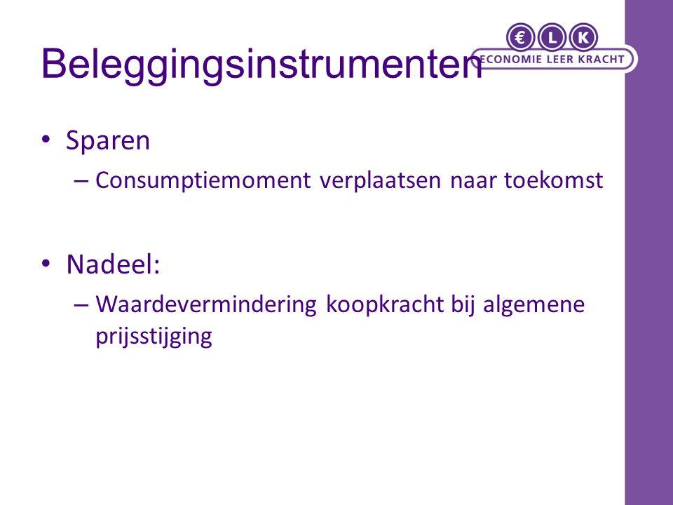 Beleggingsinstrumenten Gespaard geld omzetten in een (ander) waardeobject.