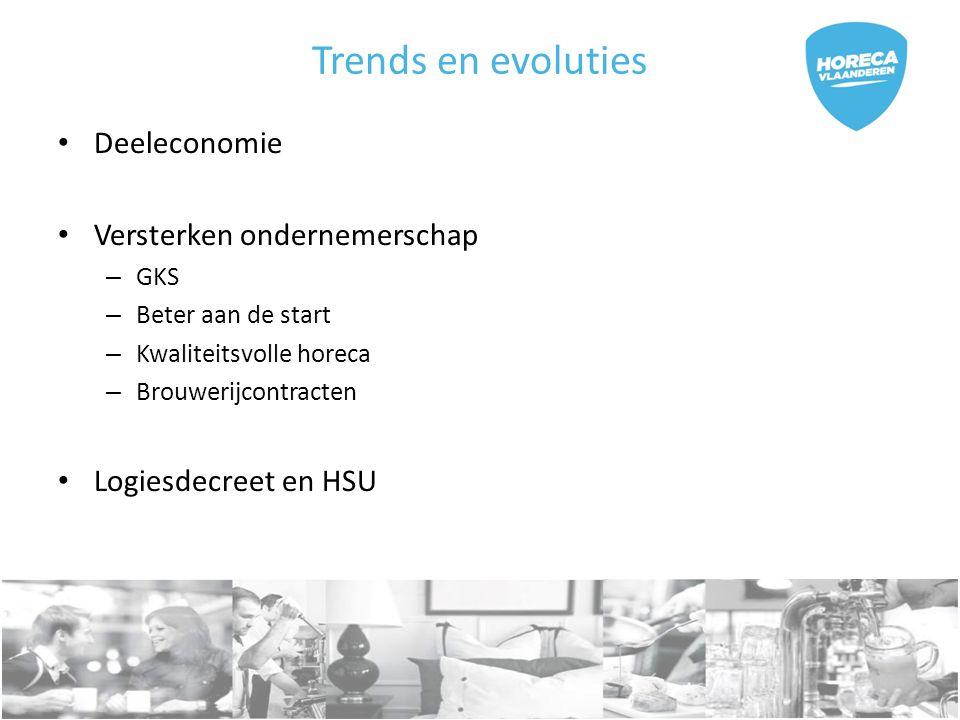 Trends en evoluties Deeleconomie Versterken ondernemerschap – GKS – Beter aan de start – Kwaliteitsvolle horeca – Brouwerijcontracten Logiesdecreet en HSU