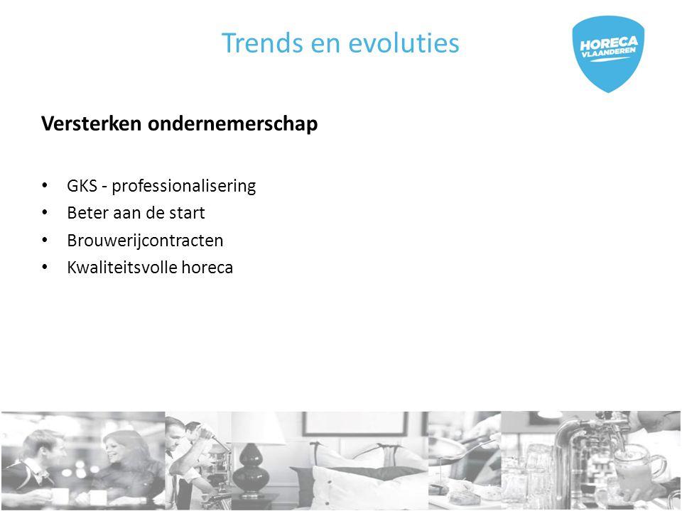 Trends en evoluties Versterken ondernemerschap GKS - professionalisering Beter aan de start Brouwerijcontracten Kwaliteitsvolle horeca