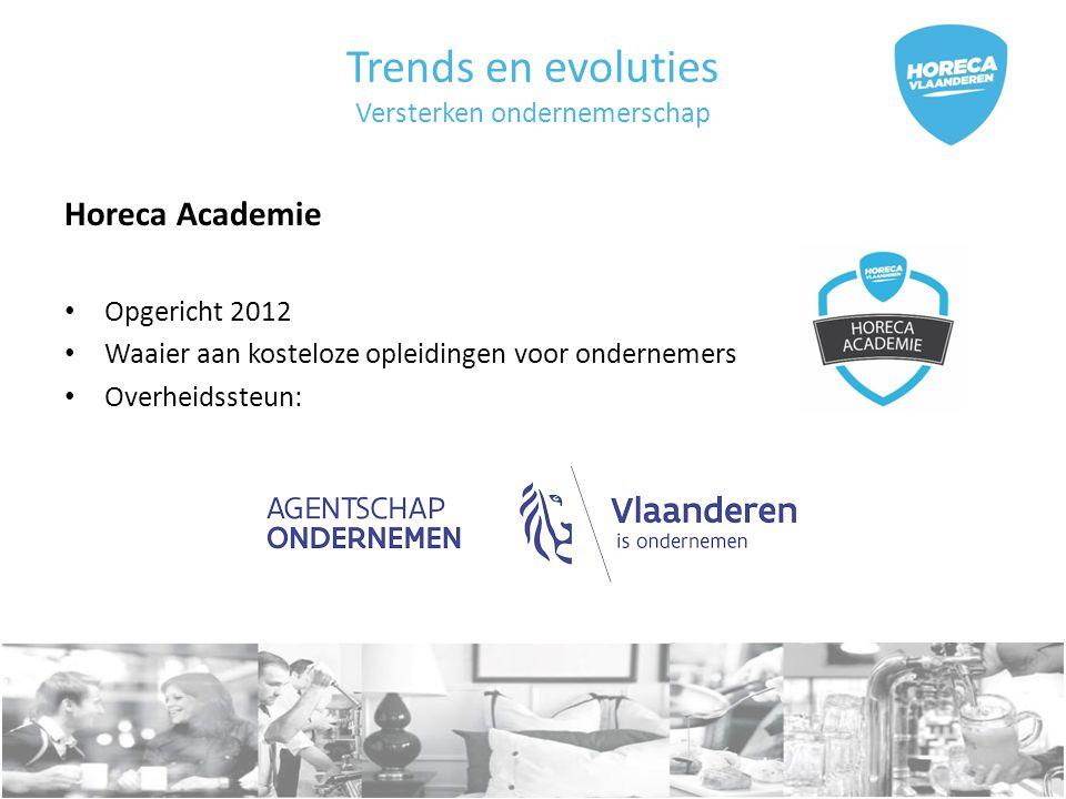 Trends en evoluties Versterken ondernemerschap Horeca Academie Opgericht 2012 Waaier aan kosteloze opleidingen voor ondernemers Overheidssteun:
