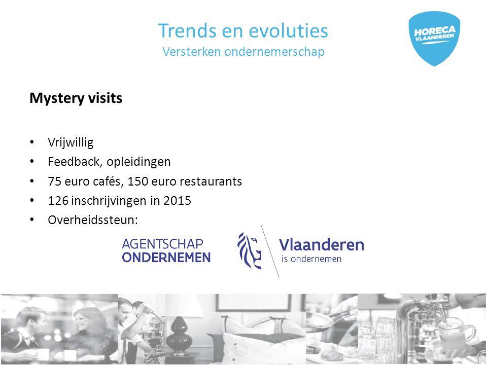 Trends en evoluties Versterken ondernemerschap Mystery visits Vrijwillig Feedback, opleidingen 75 euro cafés, 150 euro restaurants 126 inschrijvingen in 2015 Overheidssteun: