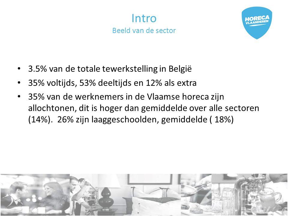 Intro Beeld van de sector 3.5% van de totale tewerkstelling in België 35% voltijds, 53% deeltijds en 12% als extra 35% van de werknemers in de Vlaamse horeca zijn allochtonen, dit is hoger dan gemiddelde over alle sectoren (14%).