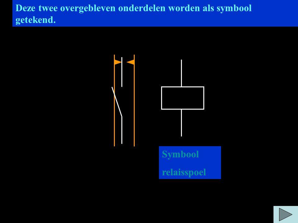 Deze twee overgebleven onderdelen worden als symbool getekend. Symbool relaisspoel