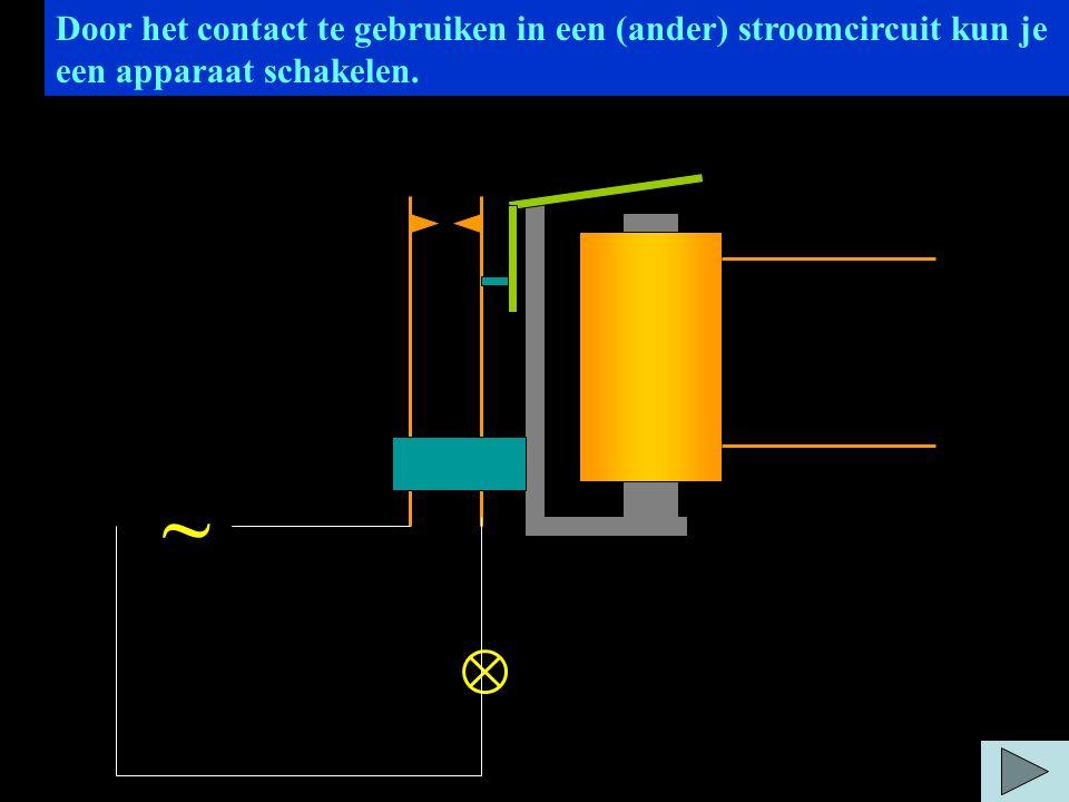 Door het contact te gebruiken in een (ander) stroomcircuit kun je een apparaat schakelen. ~