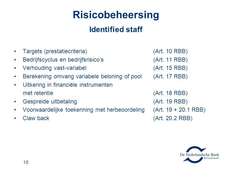 10 Risicobeheersing Identified staff Targets (prestatiecriteria)(Art.