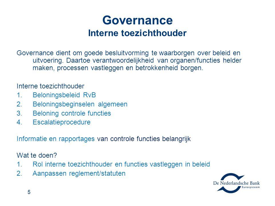5 Governance Interne toezichthouder Governance dient om goede besluitvorming te waarborgen over beleid en uitvoering.