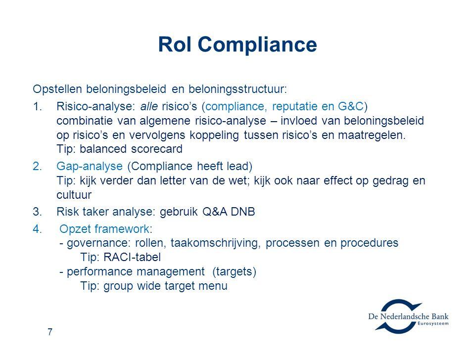 7 Rol Compliance Opstellen beloningsbeleid en beloningsstructuur: 1.Risico-analyse: alle risico's (compliance, reputatie en G&C) combinatie van algemene risico-analyse – invloed van beloningsbeleid op risico's en vervolgens koppeling tussen risico's en maatregelen.