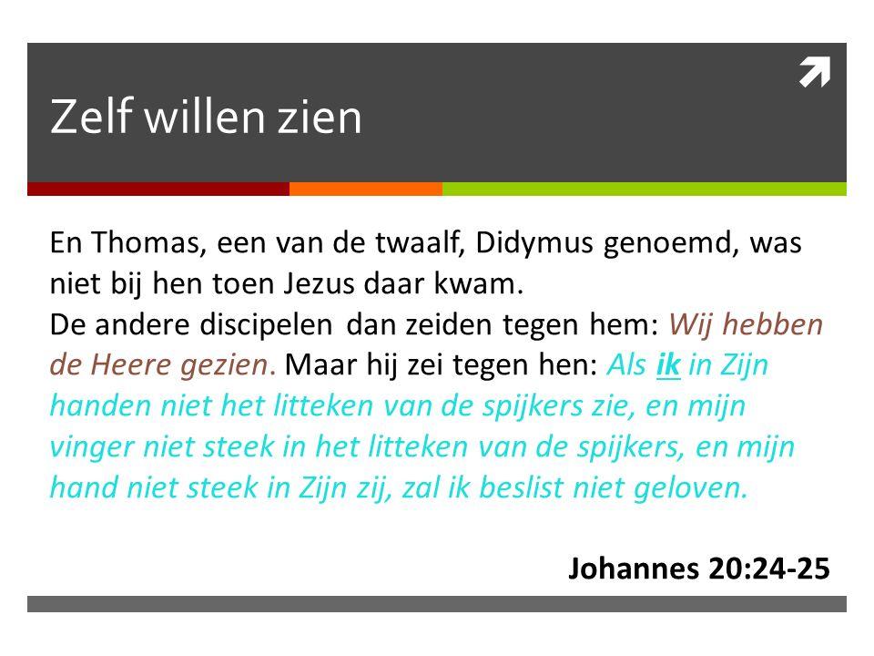  Zelf willen zien En Thomas, een van de twaalf, Didymus genoemd, was niet bij hen toen Jezus daar kwam.