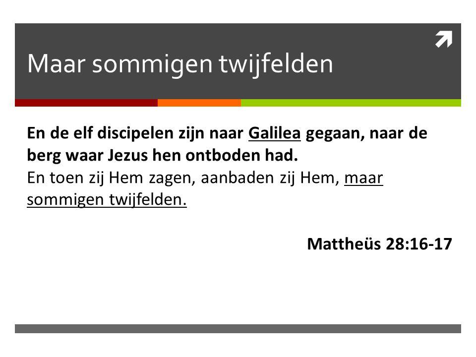  Maar sommigen twijfelden En de elf discipelen zijn naar Galilea gegaan, naar de berg waar Jezus hen ontboden had.