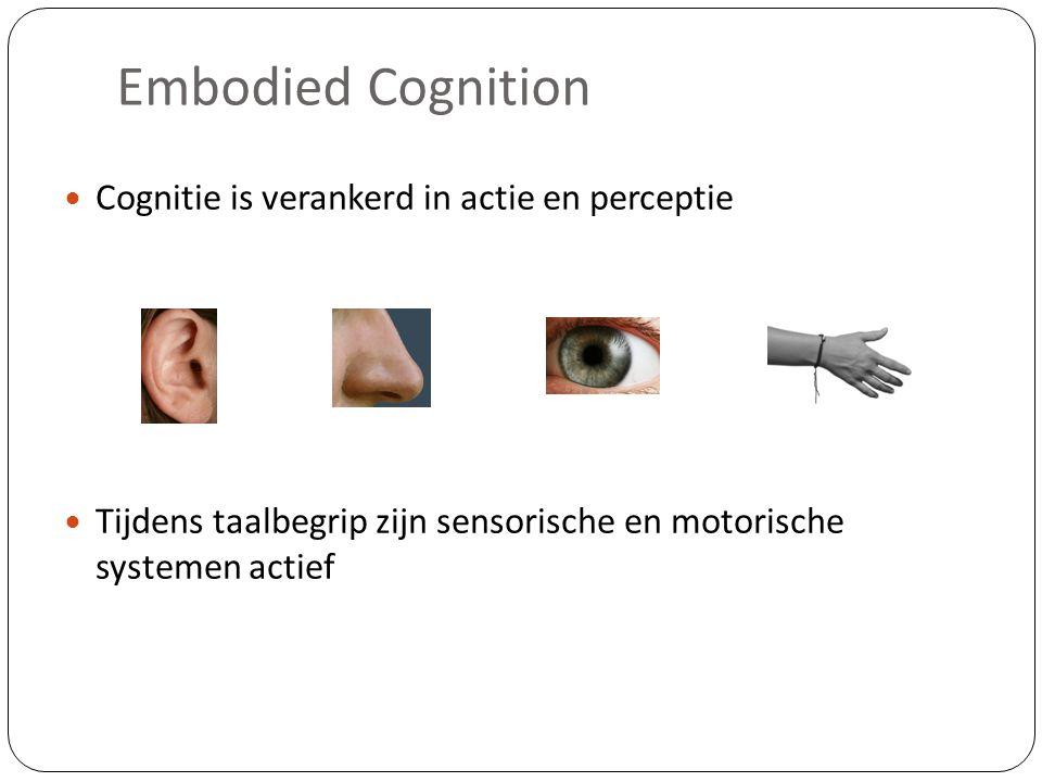 Embodied Cognition Cognitie is verankerd in actie en perceptie Tijdens taalbegrip zijn sensorische en motorische systemen actief