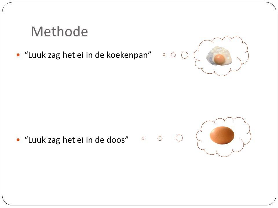 """Methode """"Luuk zag het ei in de koekenpan"""" """"Luuk zag het ei in de doos"""""""
