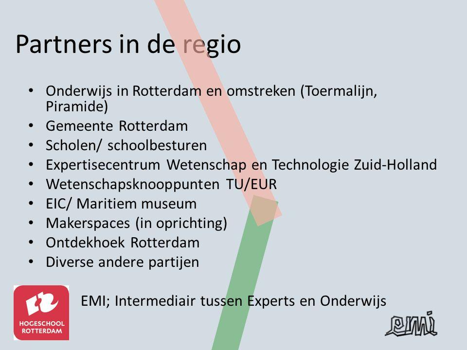 Partners in de regio Onderwijs in Rotterdam en omstreken (Toermalijn, Piramide) Gemeente Rotterdam Scholen/ schoolbesturen Expertisecentrum Wetenschap en Technologie Zuid-Holland Wetenschapsknooppunten TU/EUR EIC/ Maritiem museum Makerspaces (in oprichting) Ontdekhoek Rotterdam Diverse andere partijen EMI; Intermediair tussen Experts en Onderwijs