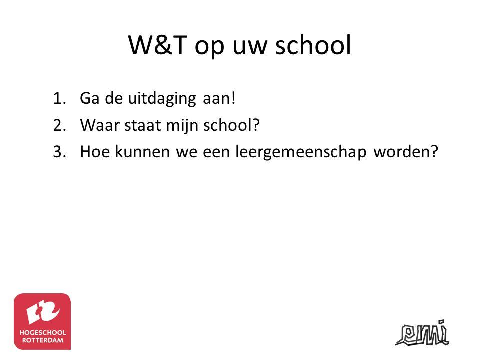 W&T op uw school 1.Ga de uitdaging aan! 2.Waar staat mijn school? 3.Hoe kunnen we een leergemeenschap worden?