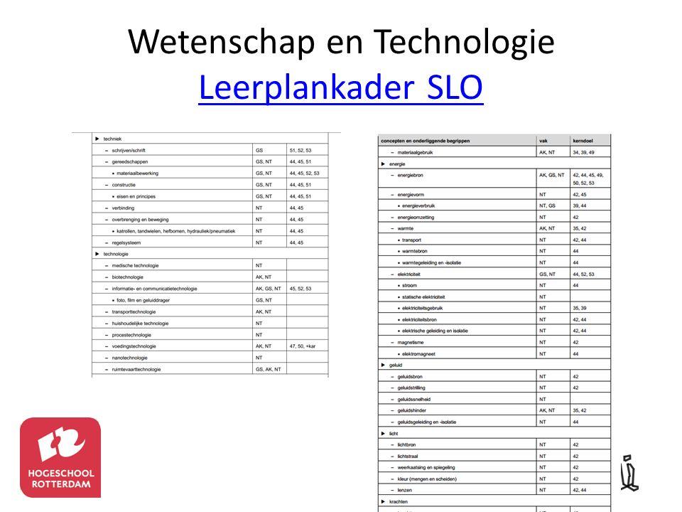 Wetenschap en Technologie Leerplankader SLO Leerplankader SLO