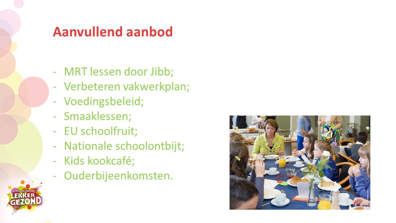 Aanvullend aanbod -MRT lessen door Jibb; -Verbeteren vakwerkplan; -Voedingsbeleid; -Smaaklessen; -EU schoolfruit; -Nationale schoolontbijt; -Kids kookcafé; -Ouderbijeenkomsten.