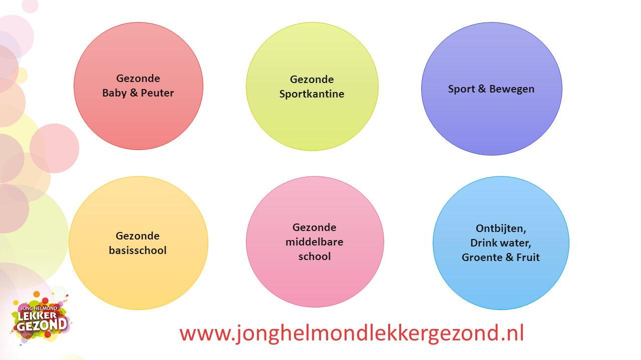 www.jonghelmondlekkergezond.nl Gezonde Baby & Peuter Gezonde basisschool Gezonde middelbare school Gezonde Sportkantine Sport & Bewegen Ontbijten, Drink water, Groente & Fruit