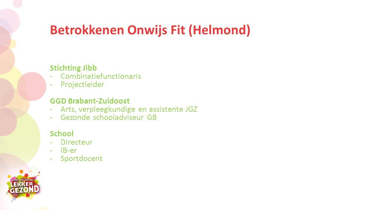 Betrokkenen Onwijs Fit (Helmond) Stichting Jibb -Combinatiefunctionaris -Projectleider GGD Brabant-Zuidoost -Arts, verpleegkundige en assistente JGZ -