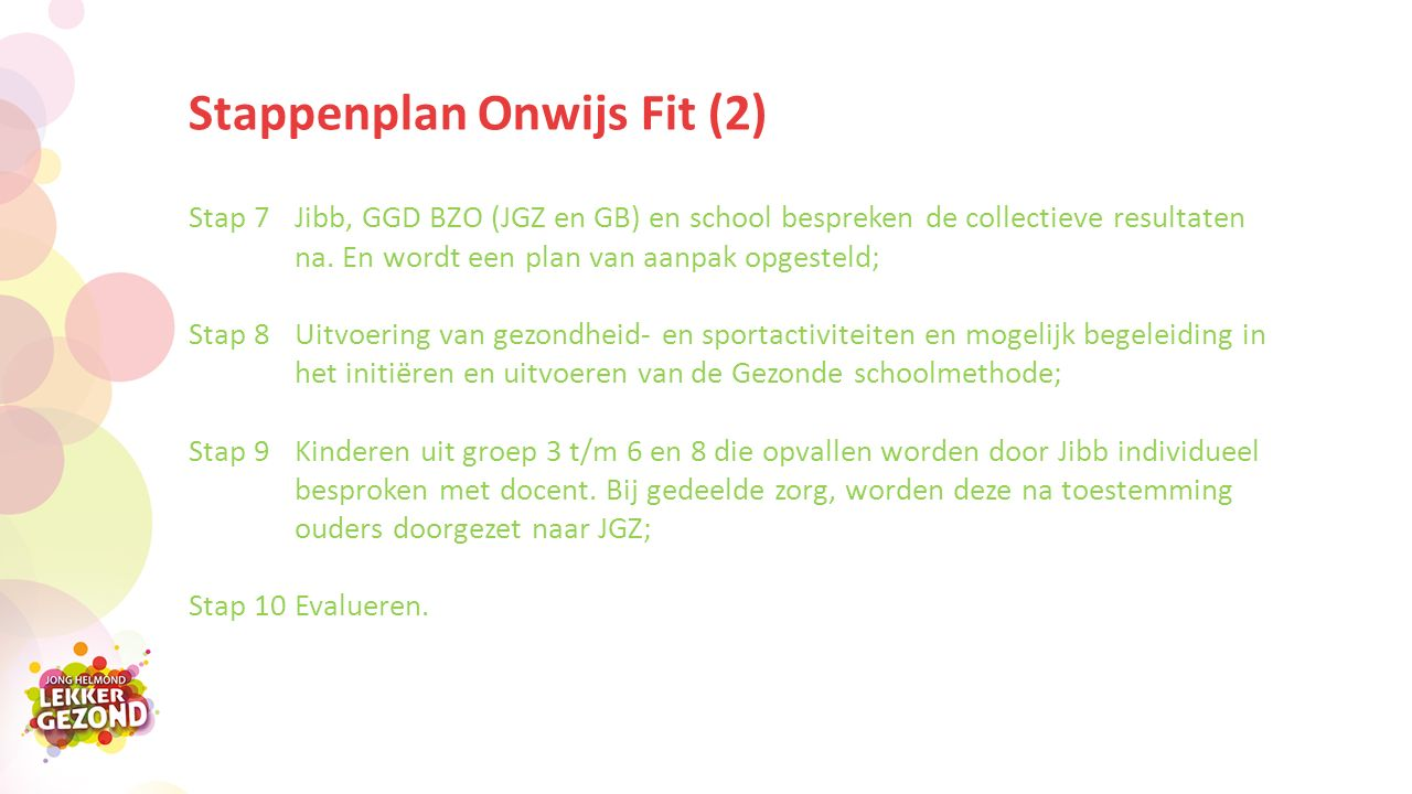 Stappenplan Onwijs Fit (2) Stap 7 Jibb, GGD BZO (JGZ en GB) en school bespreken de collectieve resultaten na.