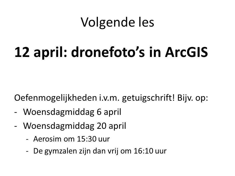 Volgende les 12 april: dronefoto's in ArcGIS Oefenmogelijkheden i.v.m.