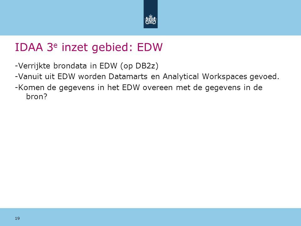 19 IDAA 3 e inzet gebied: EDW -Verrijkte brondata in EDW (op DB2z) -Vanuit uit EDW worden Datamarts en Analytical Workspaces gevoed.