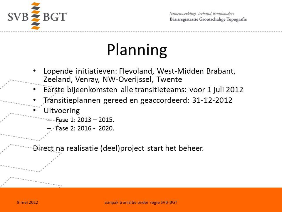 Planning Lopende initiatieven: Flevoland, West-Midden Brabant, Zeeland, Venray, NW-Overijssel, Twente Eerste bijeenkomsten alle transitieteams: voor 1 juli 2012 Transitieplannen gereed en geaccordeerd: 31-12-2012 Uitvoering – Fase 1: 2013 – 2015.