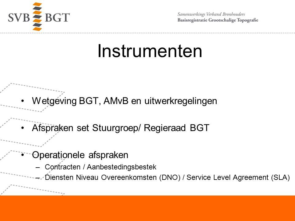 Instrumenten Wetgeving BGT, AMvB en uitwerkregelingen Afspraken set Stuurgroep/ Regieraad BGT Operationele afspraken –Contracten / Aanbestedingsbestek –Diensten Niveau Overeenkomsten (DNO) / Service Level Agreement (SLA)