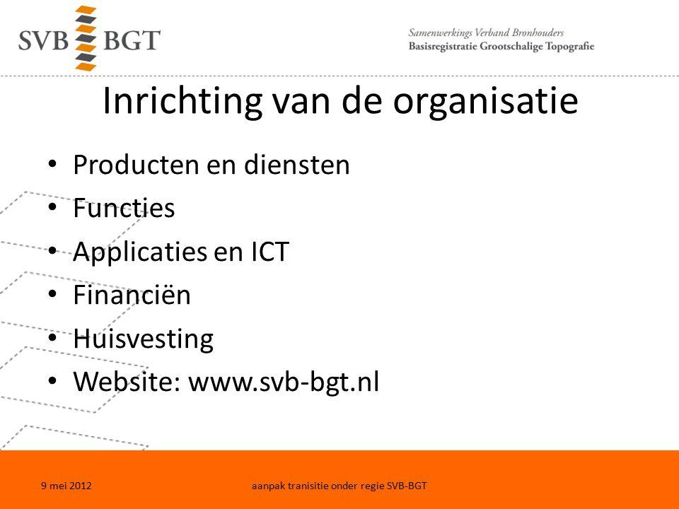 Inrichting van de organisatie Producten en diensten Functies Applicaties en ICT Financiën Huisvesting Website: www.svb-bgt.nl 9 mei 2012aanpak tranisitie onder regie SVB-BGT