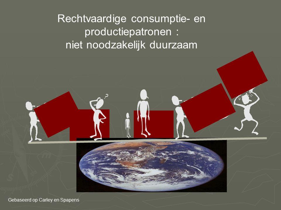 Rechtvaardige consumptie- en productiepatronen : niet noodzakelijk duurzaam Gebaseerd op Carley en Spapens