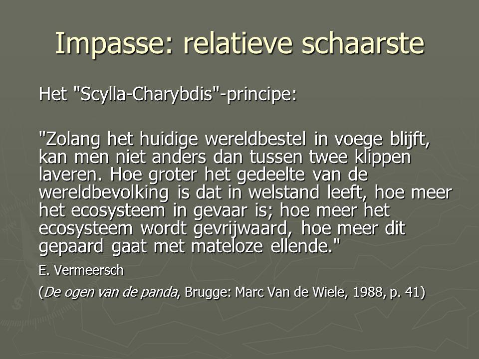 Impasse: relatieve schaarste Het Scylla-Charybdis -principe: Zolang het huidige wereldbestel in voege blijft, kan men niet anders dan tussen twee klippen laveren.