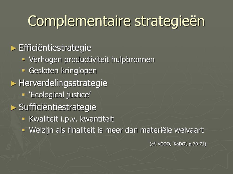 Complementaire strategieën ► Efficiëntiestrategie  Verhogen productiviteit hulpbronnen  Gesloten kringlopen ► Herverdelingsstrategie  'Ecological justice' ► Sufficiëntiestrategie  Kwaliteit i.p.v.