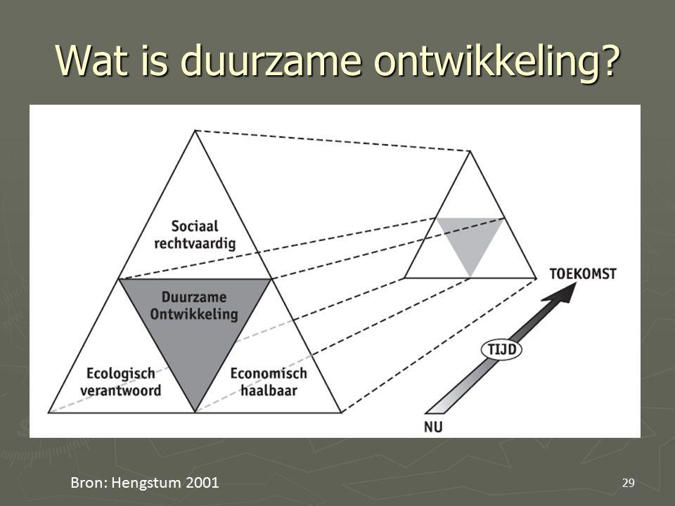 Wat is duurzame ontwikkeling? Bron: Hengstum 2001 29