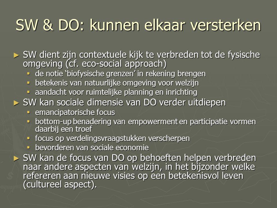 SW & DO: kunnen elkaar versterken ► SW dient zijn contextuele kijk te verbreden tot de fysische omgeving (cf.