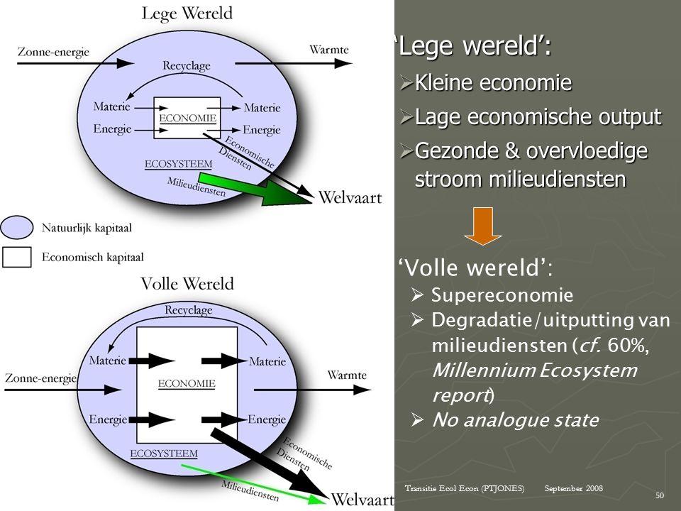 September 2008Transitie Ecol Econ (PTJONES) 50 'Lege wereld': 'Lege wereld':  Kleine economie  Lage economische output  Gezonde & overvloedige stroom milieudiensten 'Volle wereld':  Supereconomie  Degradatie/uitputting van milieudiensten (cf.