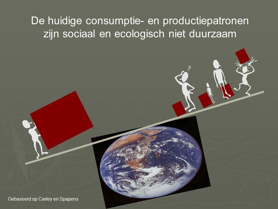 De huidige consumptie- en productiepatronen zijn sociaal en ecologisch niet duurzaam Gebaseerd op Carley en Spapens