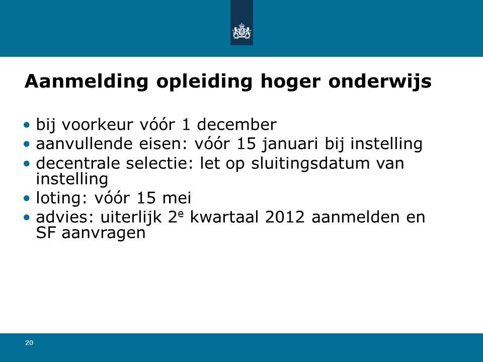20 Aanmelding opleiding hoger onderwijs bij voorkeur vóór 1 december aanvullende eisen: vóór 15 januari bij instelling decentrale selectie: let op sluitingsdatum van instelling loting: vóór 15 mei advies: uiterlijk 2 e kwartaal 2012 aanmelden en SF aanvragen
